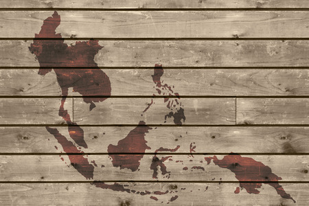 aec map on old wood texture background photo