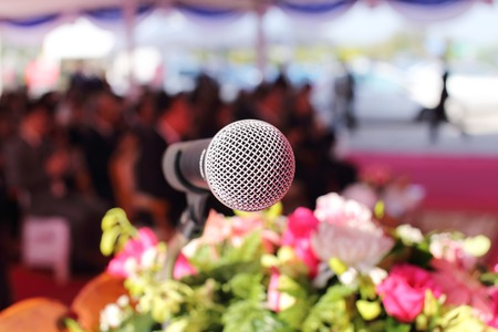 close up of microphone on an event Stock Photo