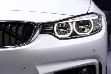 i3: BANGKOK, THAILAND - MARCH 28, 2015: close up of front view of  BMW car  on March 28 2015 in Bangkok Thailand.