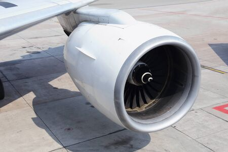 close up of an airplane engine photo