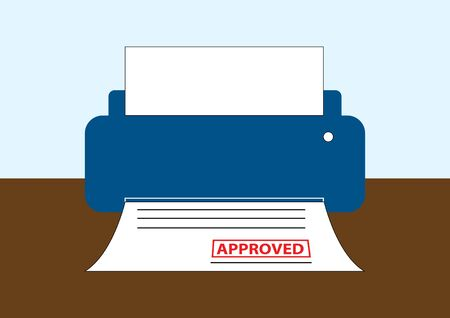 mfp: vector of printer with the approved document Illustration