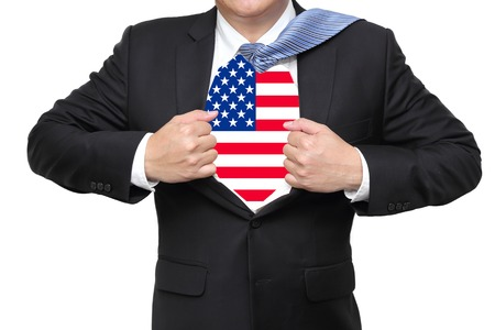 striping: businessman open his suit showing us flag underneath