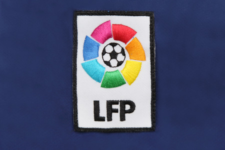 liga: BANGKOK, THAILAND -JULY 30, 2015: the logo of la liga spain football on the jersey on July 30, 2015 in Bangkok Thailand. Editorial