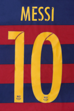 lionel messi: BANGKOK, THAILAND -JULY 31, 2015: the name of Lionel Messi of Barcelona on the back of official jersey on July 31, 2015 in Bangkok Thailand.