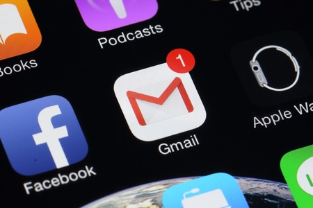 BANGKOK, THAILAND -AUGUST 1, 2015: Gmail Icon on IPhone screen on August 1,2015