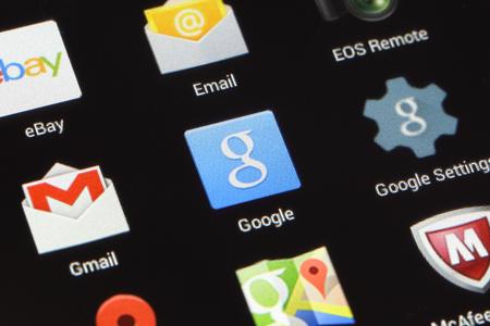 google chrome: BANGKOK, THAILAND -AUGUST 2, 2015: Google Icon on Andriod screen on August 2,2015