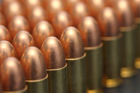 gun fire: close up of 9mm bullet
