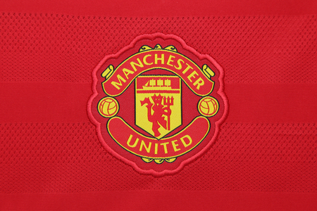 BANGKOK, THAILAND - AUGUST 21, 2015:  the Manchester United football club on an official jersey of the club on  August  21,2015 in Bangkok Thailand. Red devils is ready for the next season