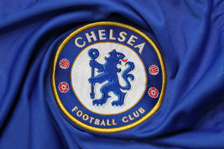 lionhead: BANGKOK, THAILAND - AUGUST 30, 2015: the logo of chelsea football club on the jersey on August 30,2015. in Bangkok Thailand.