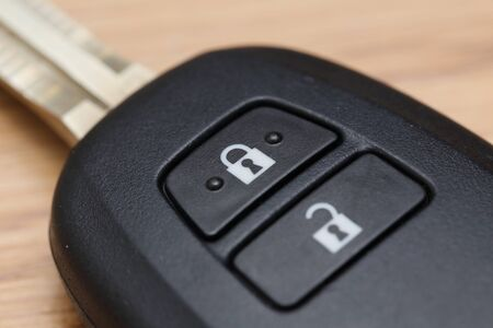lock up: close up on car key lock button