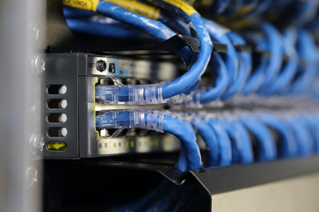 server room: background of network cable in the server room