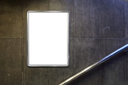 billboard blank: blank billboard with copy space located in underground Stock Photo