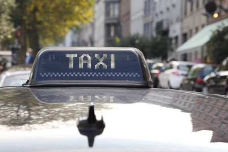 taxi sign: taxi sign on roof top car