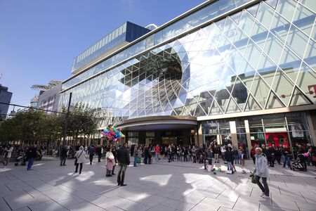 glasswork: FRANKFURT AM MAIN, GERMANY - OCTOBER 23, 2015: View of MyZeil Shopping Center on October 23,2015. MyZeil opened on 2009.