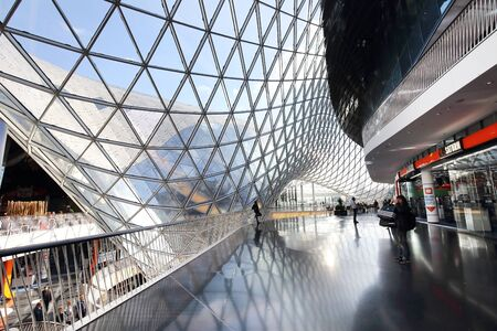 glasswork: FRANKFURT AM MAIN, GERMANY - OCTOBER 23, 2015: Interior Designed of MyZeil Shopping Center on October 23,2015. MyZeil opened on 2009.