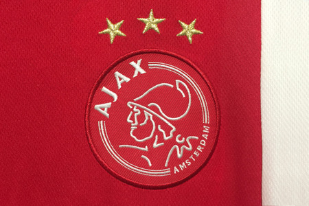 ajax: AMSTERDAM, HOLLAND - OCTOBER 20:  the logo of Ajax Amsterdam on an official jersey on October 20,2015 in Amsterdam Holland.