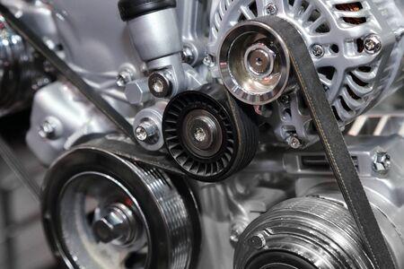 closeup on part of car engine
