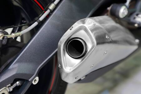 chromed: background of chromed  motorcycle exhaust pipe