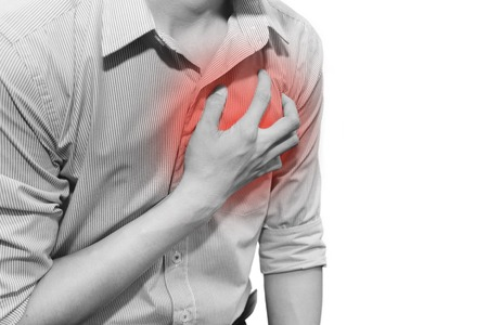 isolated man having a heart attack grab his chest with pain Stok Fotoğraf - 50184570