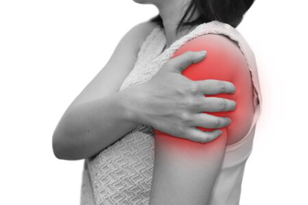 isolated woman grab her shoulder with r pain