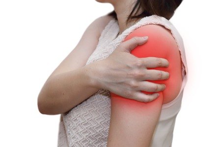enhanced healthy: isolated woman grab her shoulder with r pain