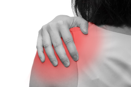 enhanced health: isolated woman grab her shoulder with pain