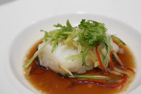 coal fish: steamed snow fish in soy sauce