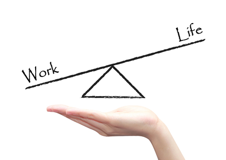health equity: isolated hand with work life balance concept