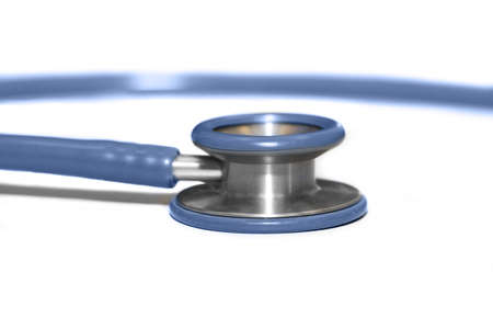 clean lungs: isolated blue stethoscope on white background Stock Photo