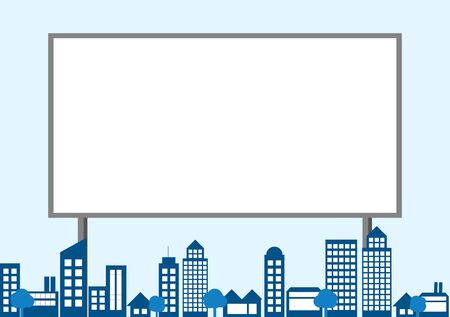 boarded: vector of blank billboard with a capyspace on the city background Illustration