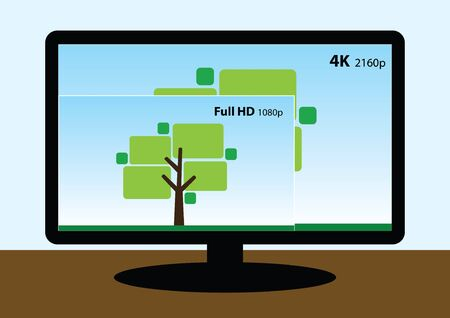 full hd: vector image of 4K television display compare to full hd tv screen Illustration
