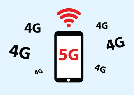 5g: vector of mobile phone with 5g
