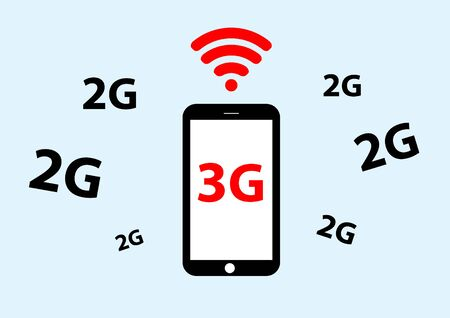 3g: vector of mobile phone with 3g