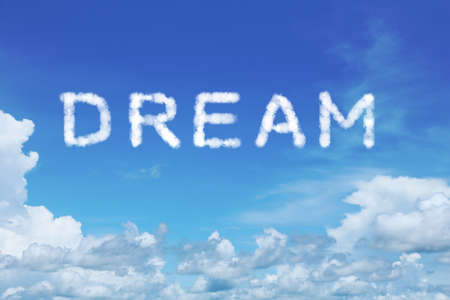 worldwide wish: background of clear blue sky with dream cloud text