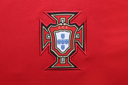 football jersey: BANGKOK, THAILAND - MAY 27, 2016: The  Logo of Portugal National Football  Jersey on May 27,2016 in Bangkok Thailand. Editorial