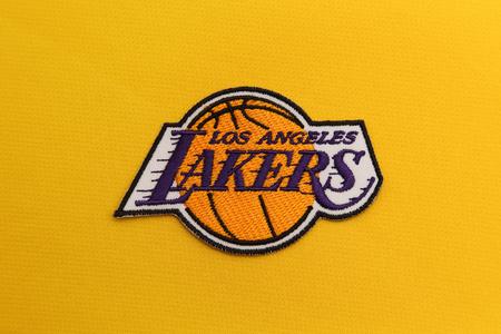 BANGKOK, THAILAND -JUNE 3, 2016: The  Logo of Basketball Team LA Lakers  on the textile on June 3,2016 in Bangkok Thailand.