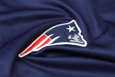 BANGKOK, THAILAND -JUNE 3, 2016: The  Logo of  New England Patriots on the textile on June 3,2016 in Bangkok Thailand. Editorial