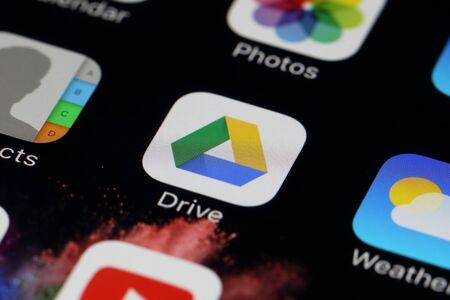 gmail: BANGKOK, THAILAND -JULY 2, 2016: Google Drive Application on IPhone screen on July 2,2016