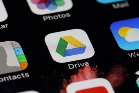 google chrome: BANGKOK, THAILAND -JULY 2, 2016: Google Drive Application on IPhone screen on July 2,2016