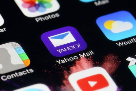 webmail: BANGKOK, THAILAND -JULY 2, 2016:Yahoo Mail Application on IPhone screen on July 2,2016