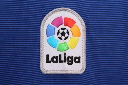 バンコク, タイ王国 - 2016 年 7 月 7 日: 新しいリーガエスパニョーラのロゴはスペイン サッカー 7 月ジャージーにタイのバンコクで 07,2016。
