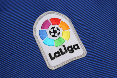 BANGKOK, THAILAND - JULY 07, 2016:  The Logo of New La Liga spain football on the jersey on July 07,2016 in Bangkok Thailand.