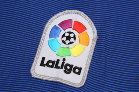liga: BANGKOK, THAILAND - JULY 07, 2016:  The Logo of New La Liga spain football on the jersey on July 07,2016 in Bangkok Thailand.