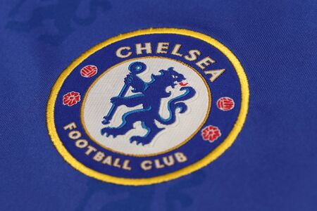 lionhead: BANGKOK, THAILAND - JULY 07, 2016: The Logo of Chelsea Football Club on the Jersey on July 07,2016 in Bangkok Thailand.