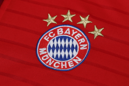 football jersey: BANGKOK, THAILAND - JULY 10, 2016: The  Logo of Bayern Munich on Football Jersey on July 10,2016 in Bangkok Thailand.