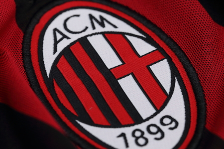 ac: BANGKOK, THAILAND - JULY 24, 2016: The Logo of AC Milan Football Club on the Jersey on July 24,2016 in Bangkok Thailand.