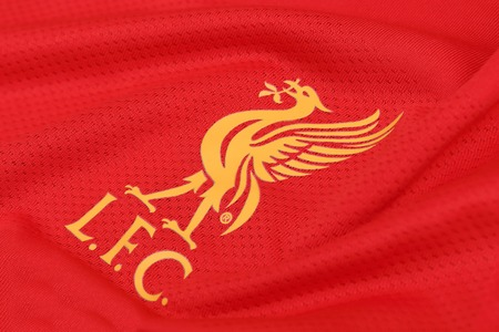 BANGKOK, THAILAND - JULY 24, 2016: The Logo of Liverpool Football Club on the Jersey on July 24,2016 in Bangkok Thailand. Editorial