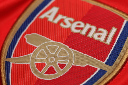 BANGKOK, THAILAND - JULY 24, 2016: The Logo of Arsenal Football Club on the Jersey on July 24,2016 in Bangkok Thailand. Editorial