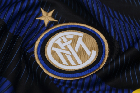 inter: BANGKOK, THAILAND - JULY 24, 2016: The Logo of Inter Milan on the Jersey on July 24,2016 in Bangkok Thailand.