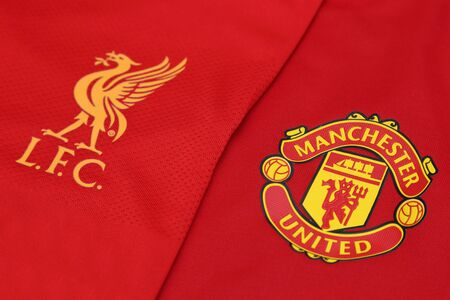 BANGKOK, THAILAND - JULY 24, 2016: The Logo of Liverpool and Manchester United on Football Jerseys on July  24,2016 in Bangkok Thailand. Editorial